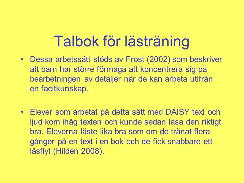 Talbok för lästräning