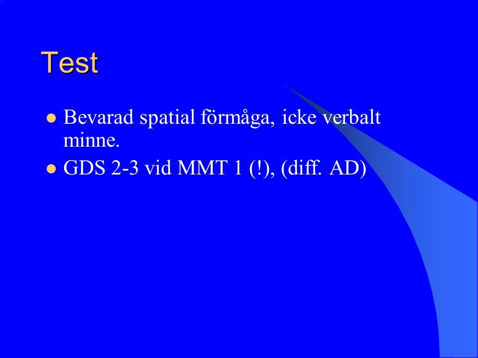 Test Bevarad spatial förmåga, icke verbalt minne.