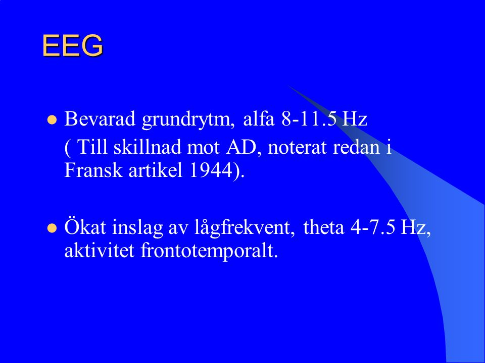 EEG Bevarad grundrytm, alfa 8-11.5 Hz