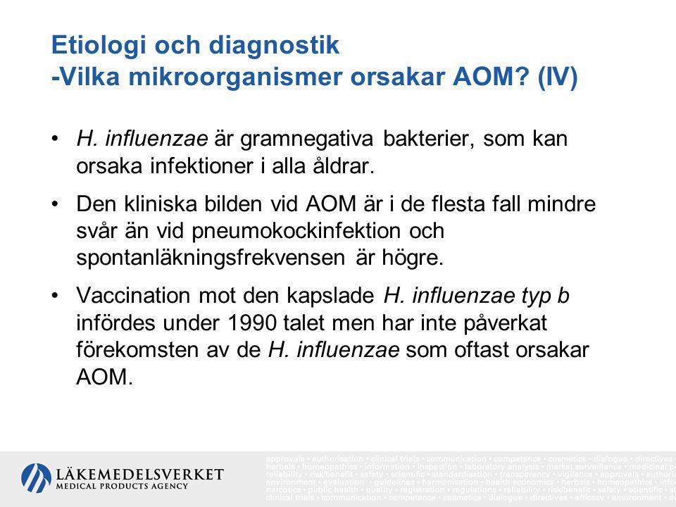 Etiologi och diagnostik -Vilka mikroorganismer orsakar AOM (IV)