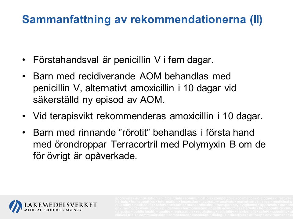 Sammanfattning av rekommendationerna (II)