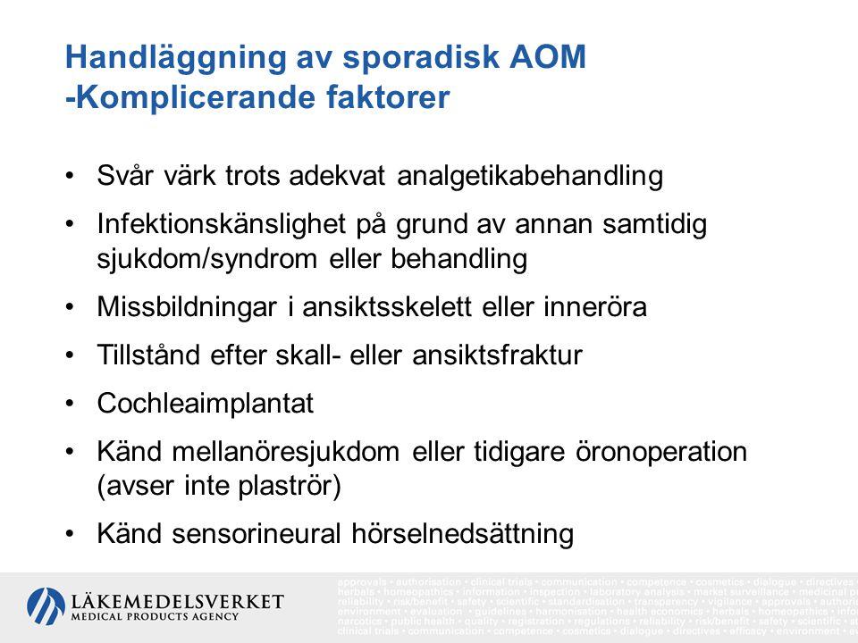 Handläggning av sporadisk AOM -Komplicerande faktorer