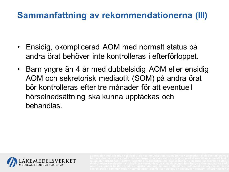 Sammanfattning av rekommendationerna (III)