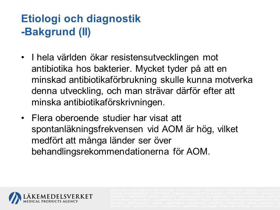 Etiologi och diagnostik -Bakgrund (II)