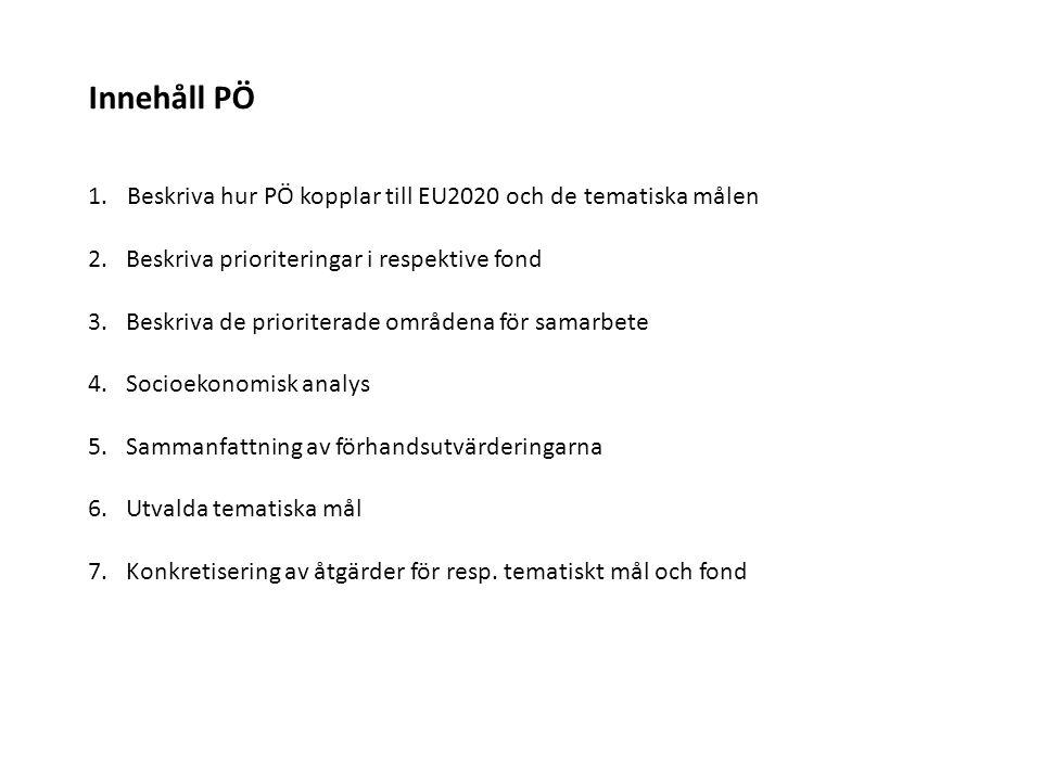 Innehåll PÖ Beskriva hur PÖ kopplar till EU2020 och de tematiska målen