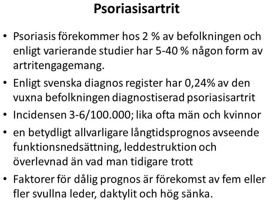 Psoriasisartrit Psoriasis förekommer hos 2 % av befolkningen och enligt varierande studier har 5-40 % någon form av artritengagemang.
