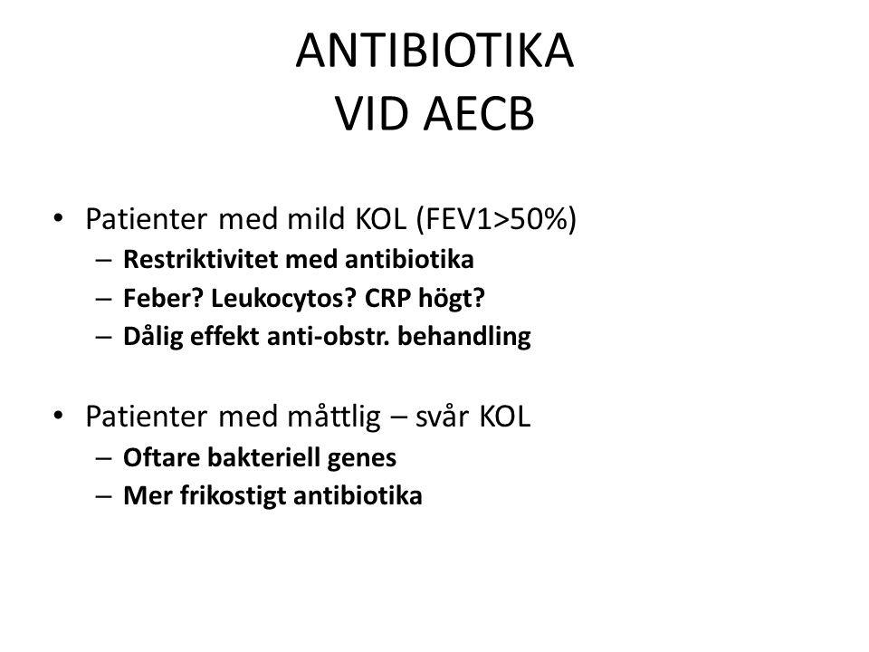 ANTIBIOTIKA VID AECB Patienter med mild KOL (FEV1>50%)