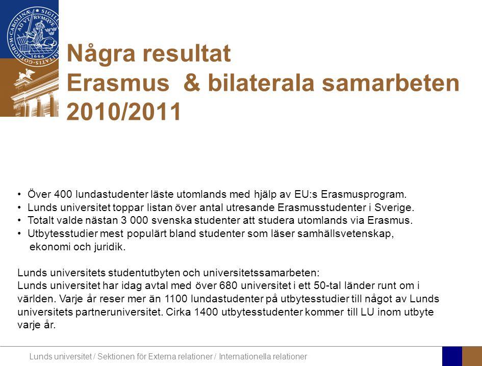 Några resultat Erasmus & bilaterala samarbeten 2010/2011