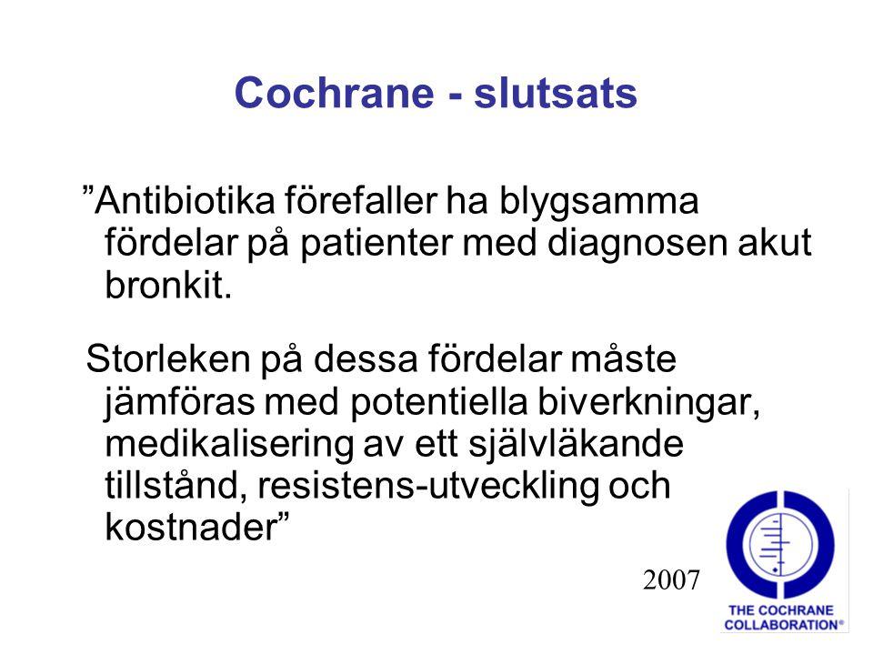 Cochrane - slutsats Antibiotika förefaller ha blygsamma fördelar på patienter med diagnosen akut bronkit.