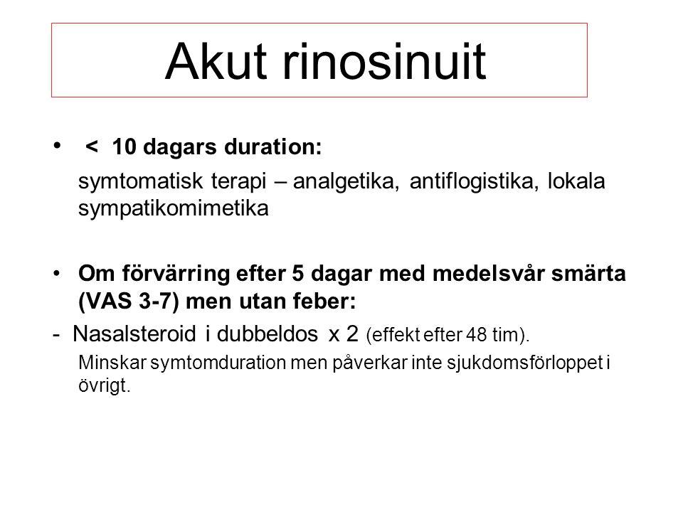 Akut rinosinuit < 10 dagars duration: