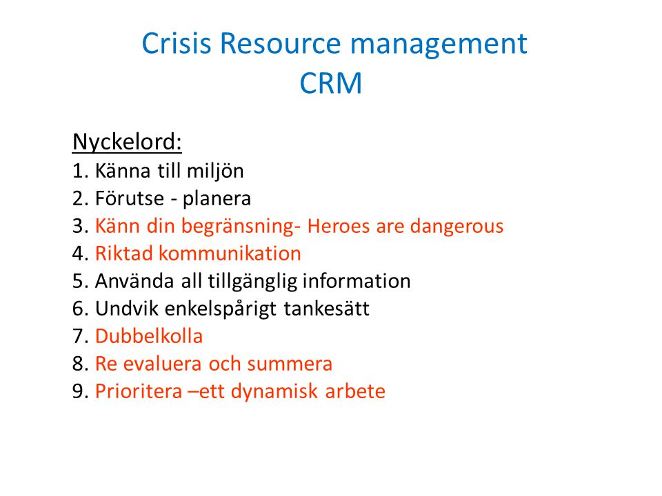 Crisis Resource management CRM