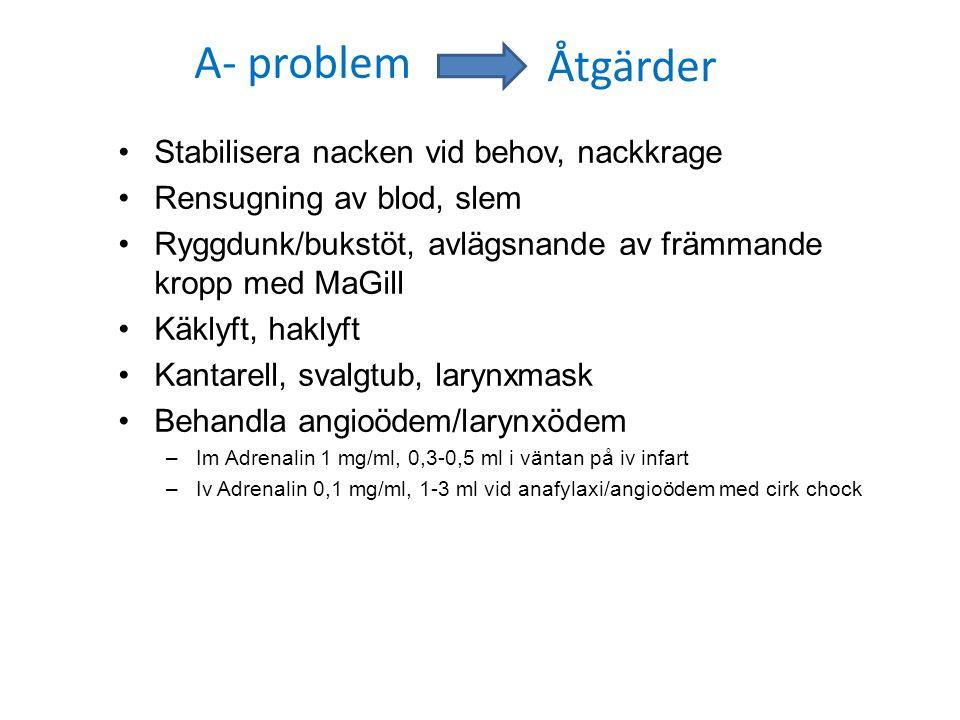 A- problem Åtgärder Stabilisera nacken vid behov, nackkrage