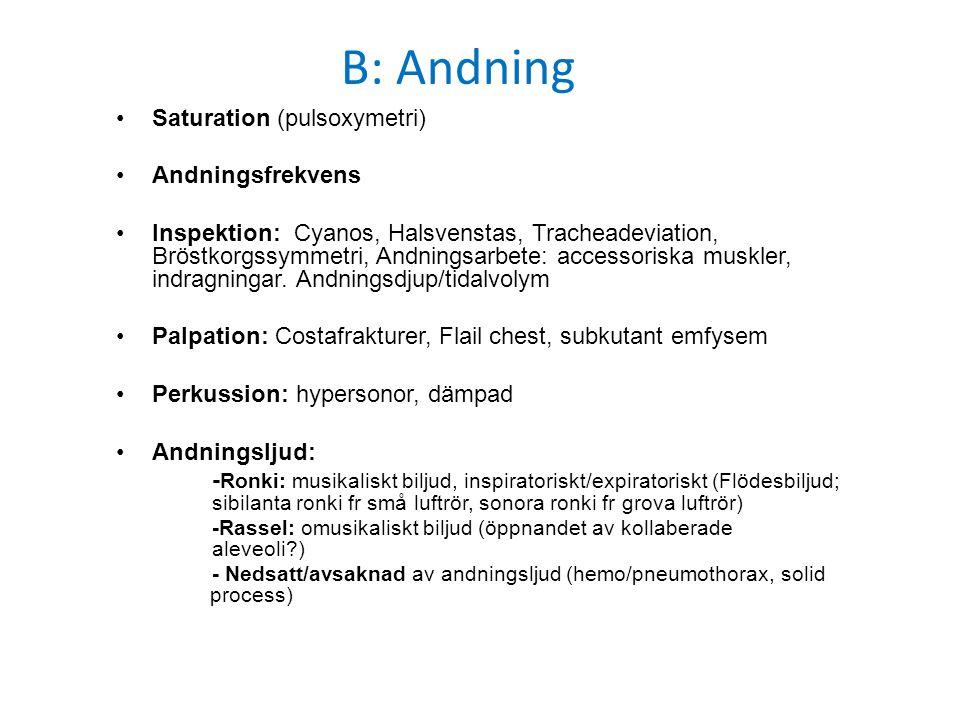 B: Andning Saturation (pulsoxymetri) Andningsfrekvens