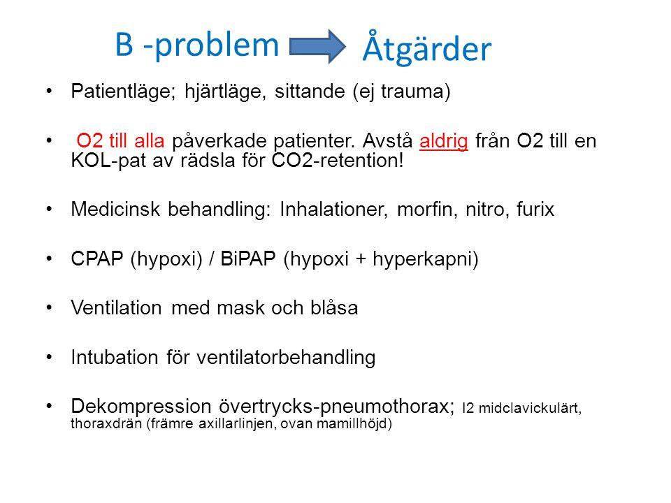 B -problem Åtgärder Patientläge; hjärtläge, sittande (ej trauma)