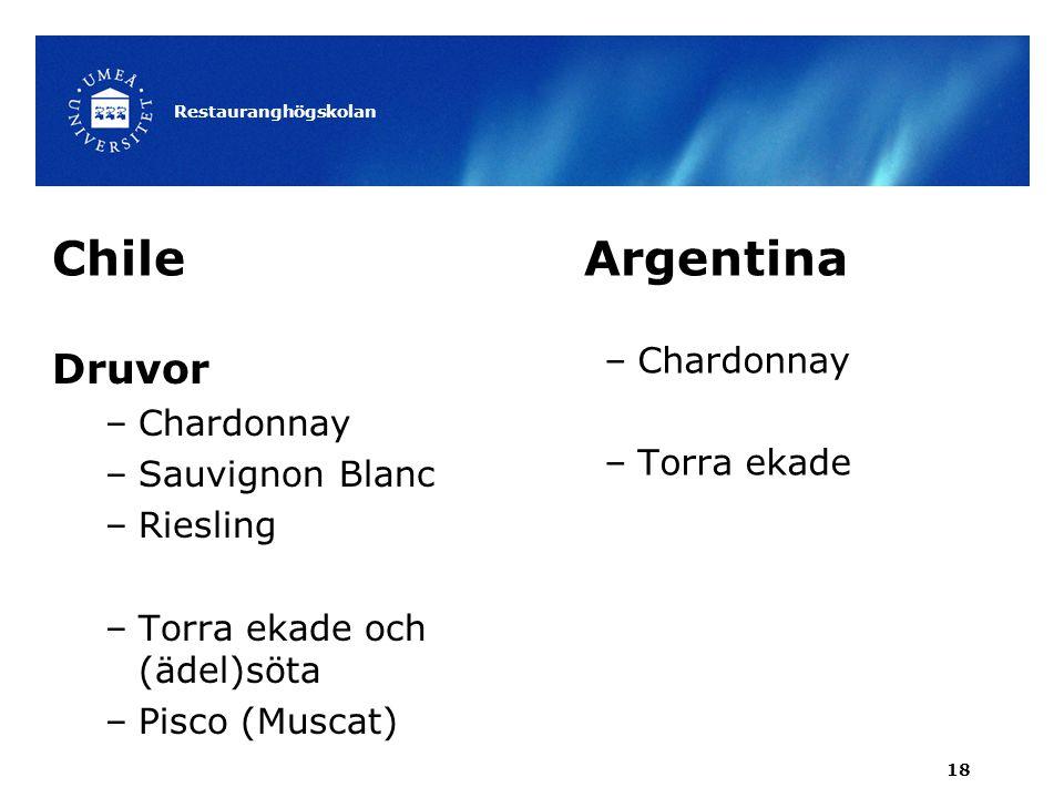 Chile Argentina Druvor Chardonnay Chardonnay Torra ekade