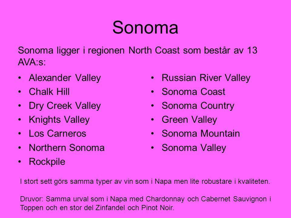 Sonoma Sonoma ligger i regionen North Coast som består av 13 AVA:s: