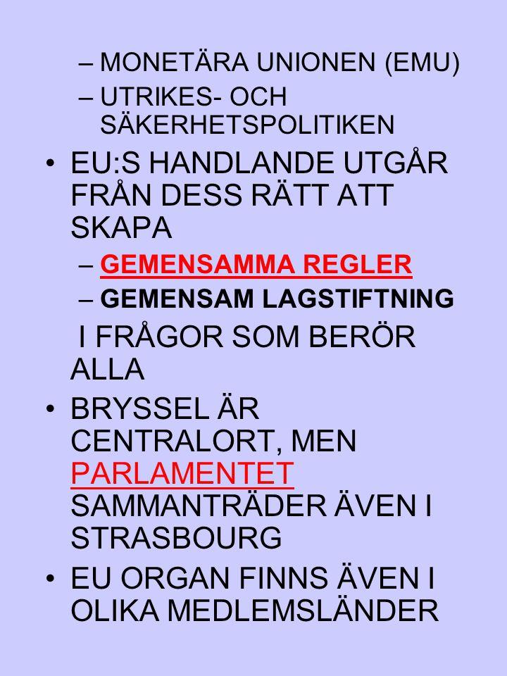 EU:S HANDLANDE UTGÅR FRÅN DESS RÄTT ATT SKAPA
