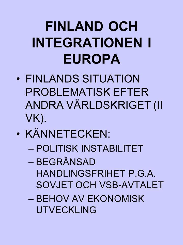 FINLAND OCH INTEGRATIONEN I EUROPA