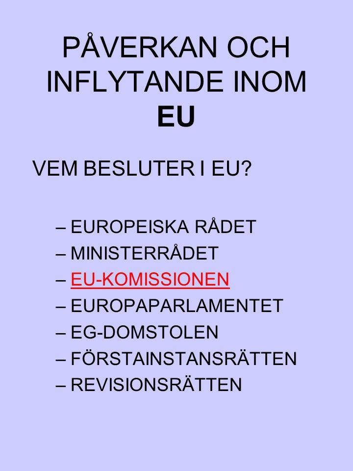PÅVERKAN OCH INFLYTANDE INOM EU