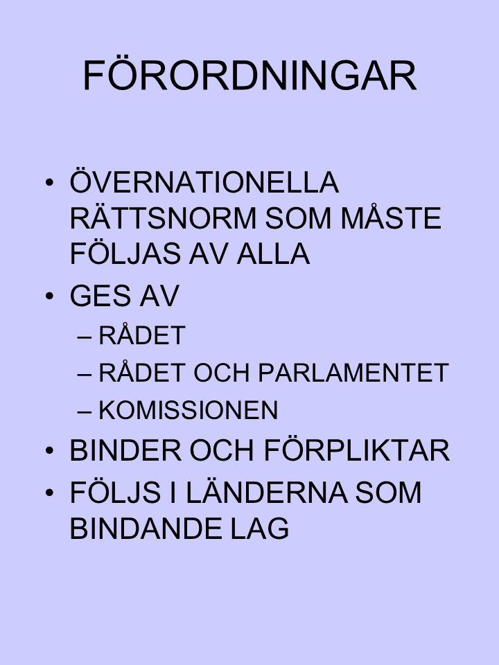 FÖRORDNINGAR ÖVERNATIONELLA RÄTTSNORM SOM MÅSTE FÖLJAS AV ALLA GES AV