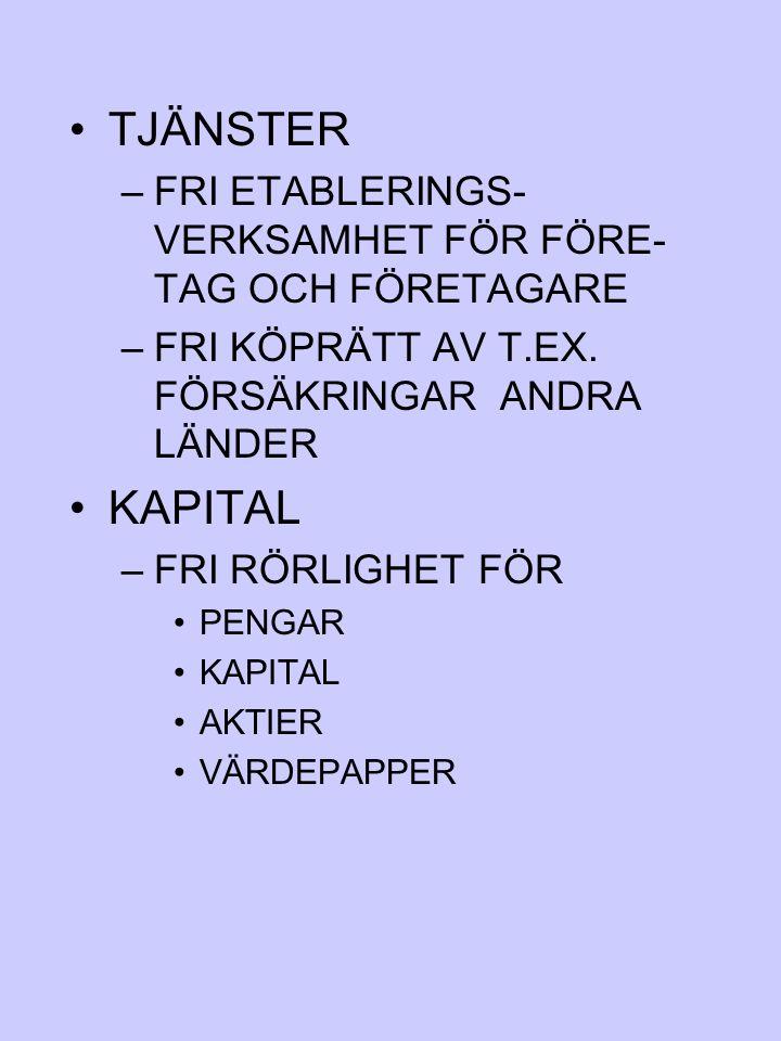 TJÄNSTER FRI ETABLERINGS-VERKSAMHET FÖR FÖRE-TAG OCH FÖRETAGARE. FRI KÖPRÄTT AV T.EX. FÖRSÄKRINGAR ANDRA LÄNDER.