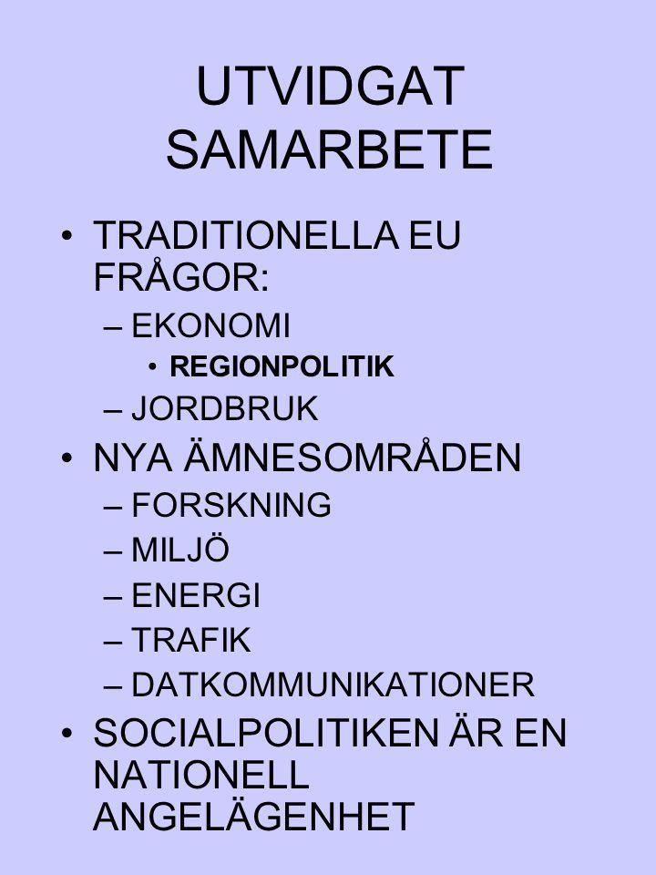 UTVIDGAT SAMARBETE TRADITIONELLA EU FRÅGOR: NYA ÄMNESOMRÅDEN