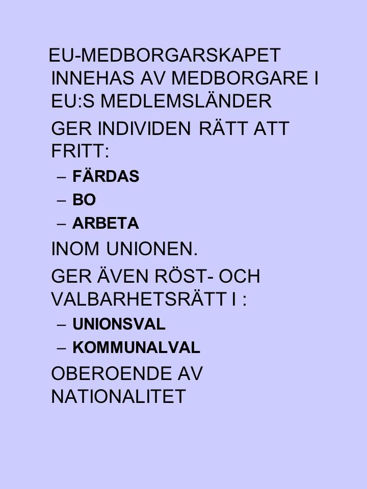 EU-MEDBORGARSKAPET INNEHAS AV MEDBORGARE I EU:S MEDLEMSLÄNDER
