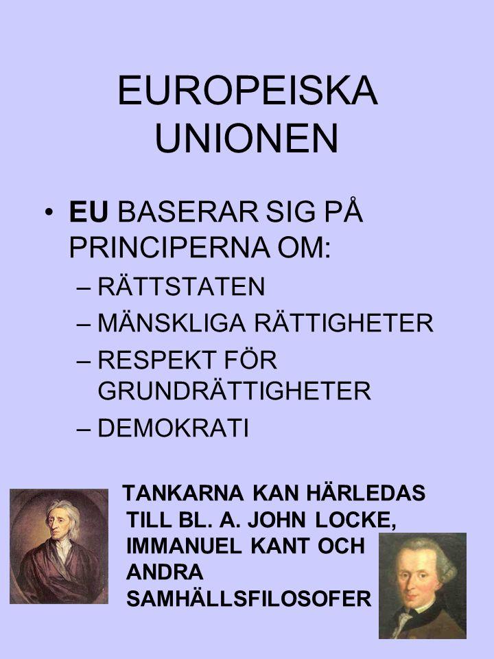 EUROPEISKA UNIONEN EU BASERAR SIG PÅ PRINCIPERNA OM: RÄTTSTATEN