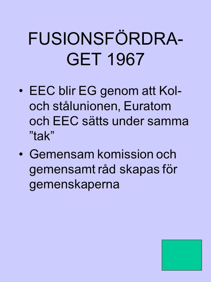 FUSIONSFÖRDRA-GET 1967 EEC blir EG genom att Kol- och stålunionen, Euratom och EEC sätts under samma tak