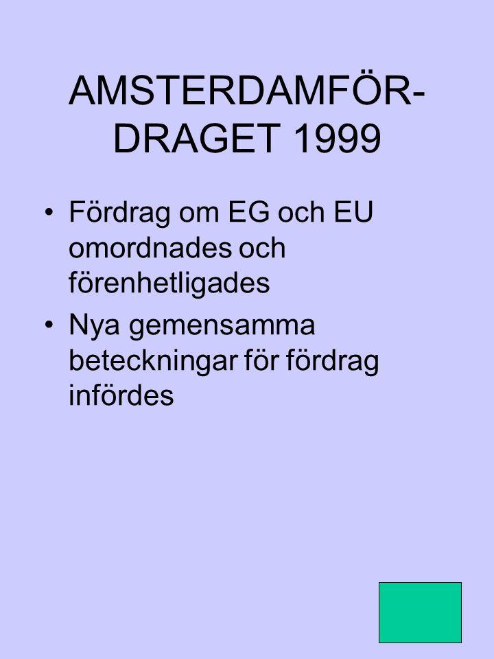 AMSTERDAMFÖR-DRAGET 1999 Fördrag om EG och EU omordnades och förenhetligades.