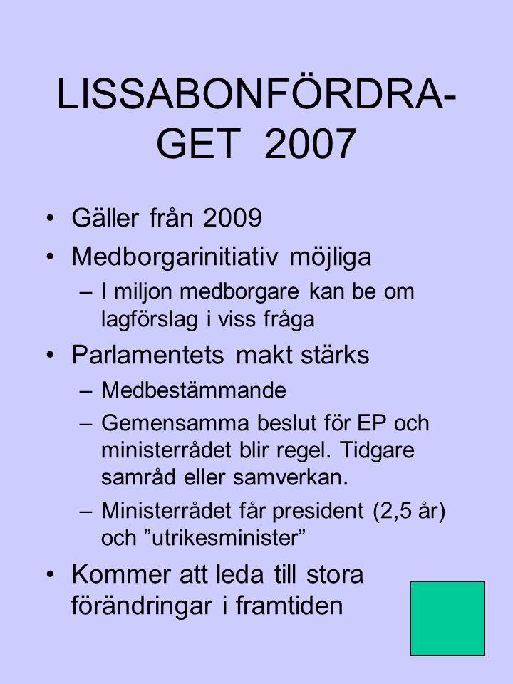 LISSABONFÖRDRA-GET 2007 Gäller från 2009 Medborgarinitiativ möjliga