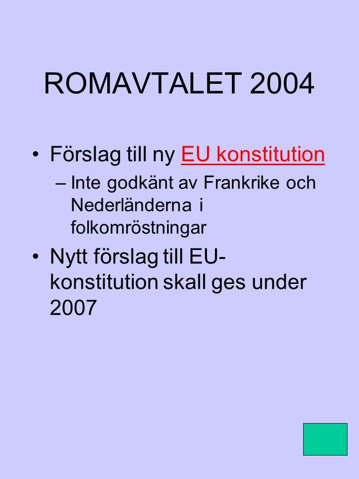 ROMAVTALET 2004 Förslag till ny EU konstitution