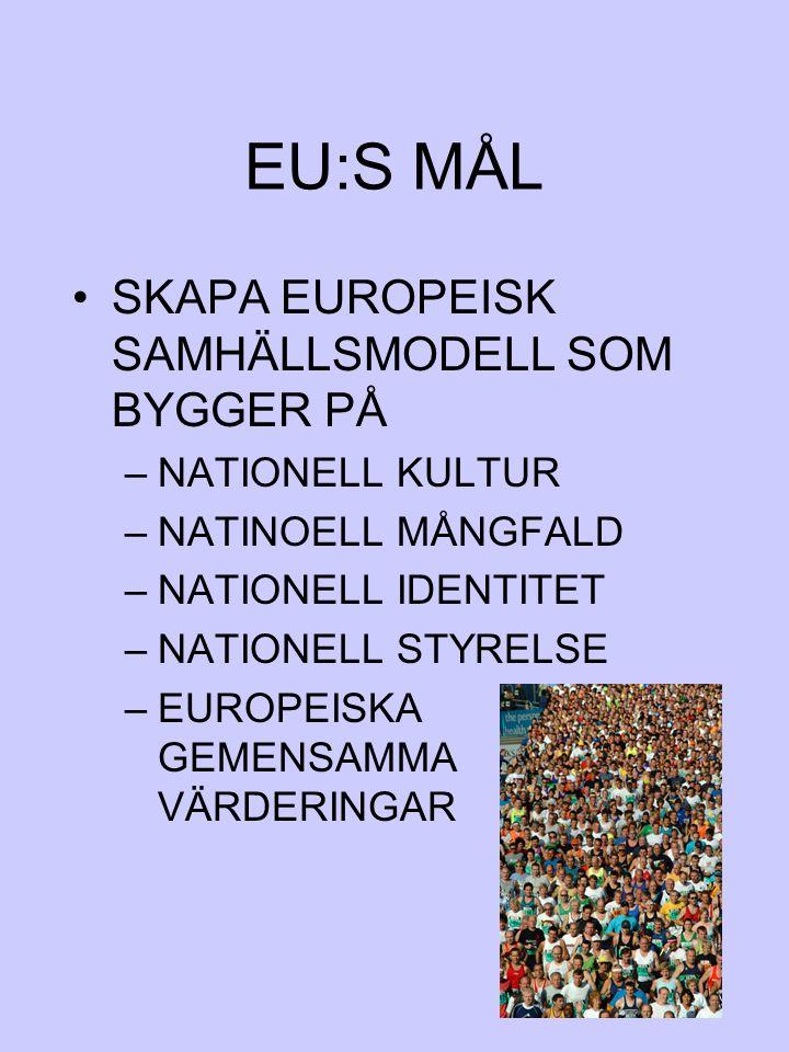 EU:S MÅL SKAPA EUROPEISK SAMHÄLLSMODELL SOM BYGGER PÅ NATIONELL KULTUR