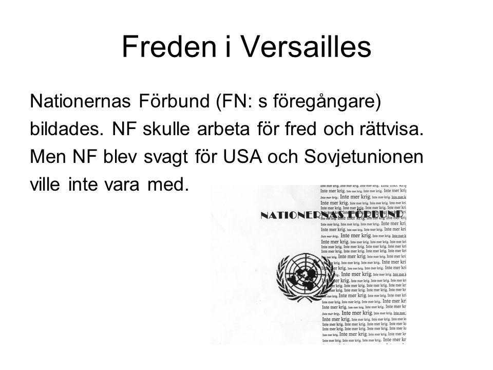 Freden i Versailles Nationernas Förbund (FN: s föregångare)