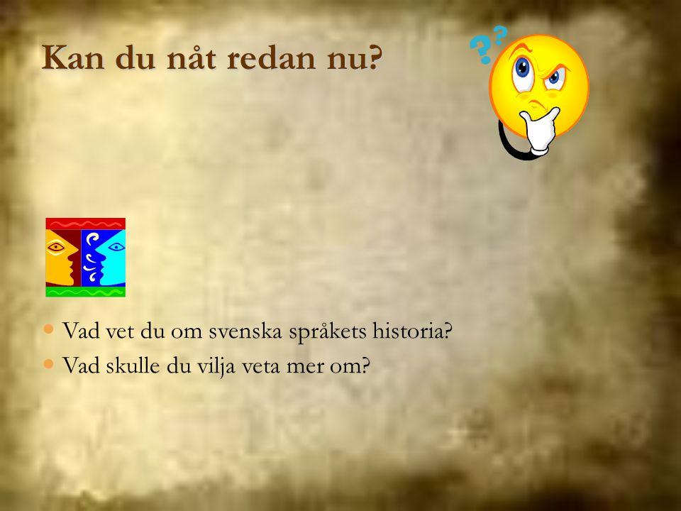 Kan du nåt redan nu Vad vet du om svenska språkets historia