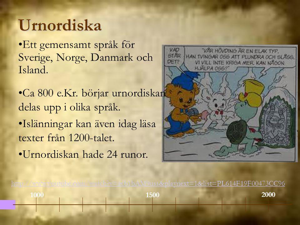 Urnordiska Ett gemensamt språk för Sverige, Norge, Danmark och Island.