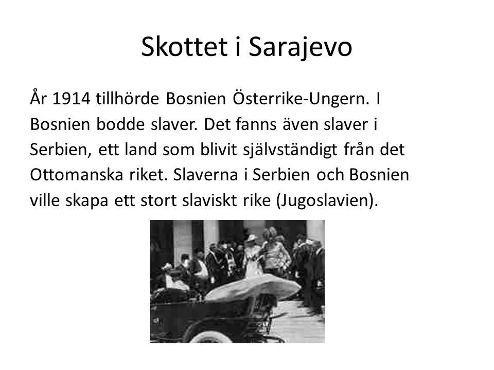 Skottet i Sarajevo År 1914 tillhörde Bosnien Österrike-Ungern. I
