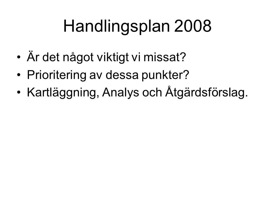 Handlingsplan 2008 Är det något viktigt vi missat