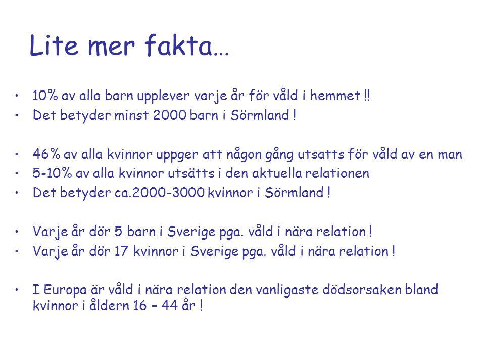 Lite mer fakta… 10% av alla barn upplever varje år för våld i hemmet !! Det betyder minst 2000 barn i Sörmland !