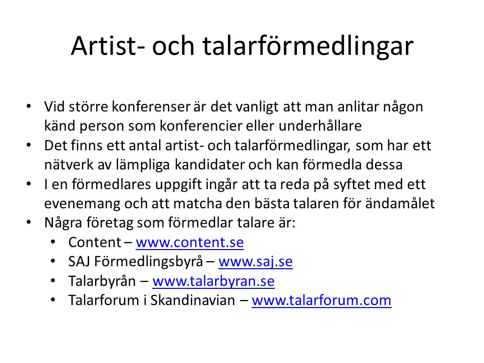 Artist- och talarförmedlingar