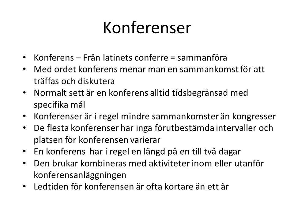 Konferenser Konferens – Från latinets conferre = sammanföra