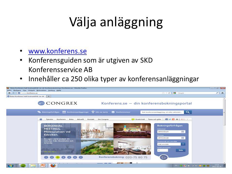 Välja anläggning www.konferens.se