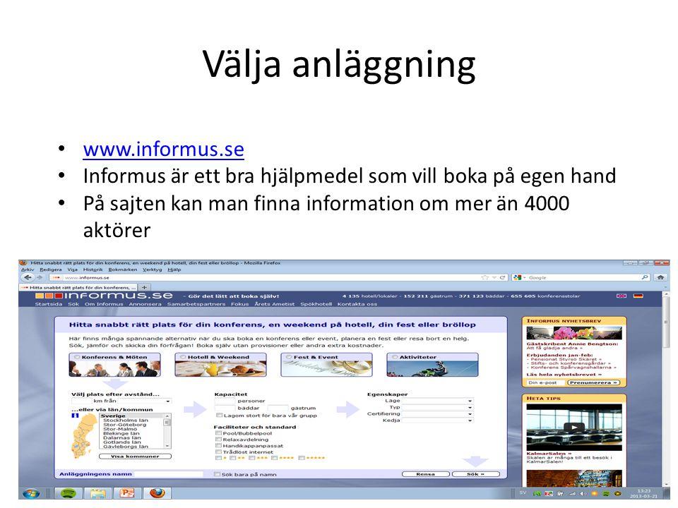 Välja anläggning www.informus.se