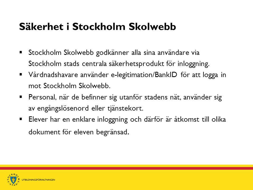 Säkerhet i Stockholm Skolwebb