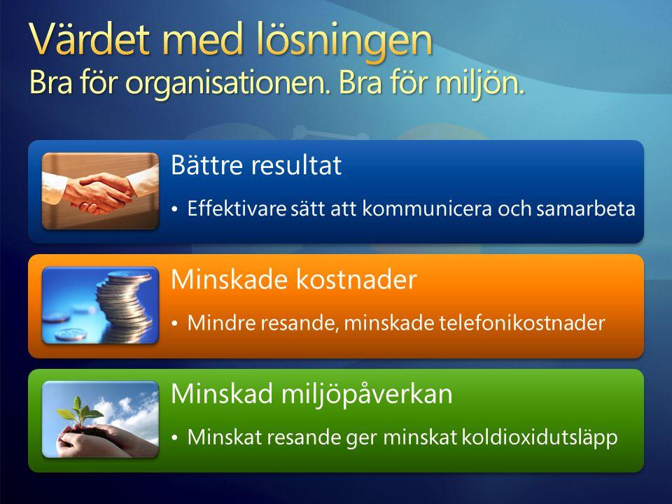 Värdet med lösningen Bra för organisationen. Bra för miljön.