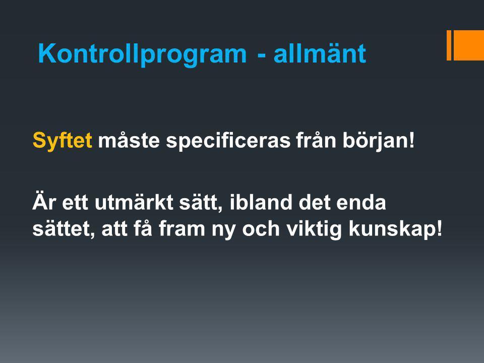Kontrollprogram - allmänt