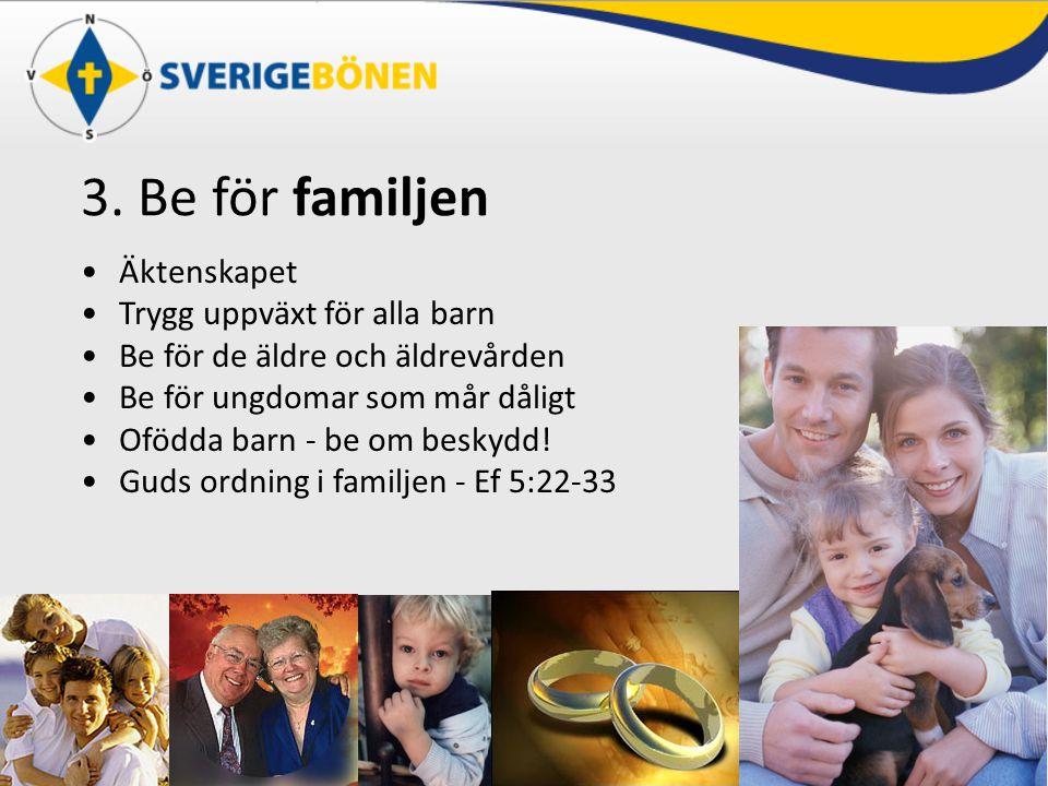3. Be för familjen Äktenskapet Trygg uppväxt för alla barn