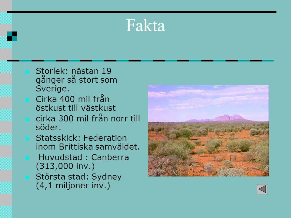 Fakta Storlek: nästan 19 gånger så stort som Sverige.