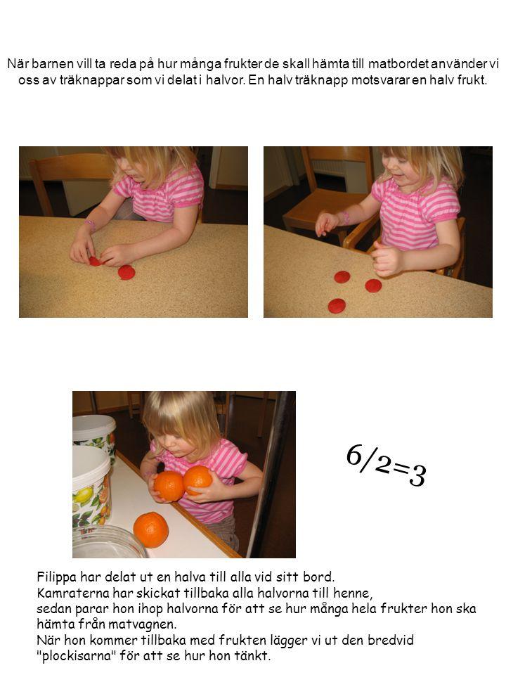 När barnen vill ta reda på hur många frukter de skall hämta till matbordet använder vi oss av träknappar som vi delat i halvor. En halv träknapp motsvarar en halv frukt.