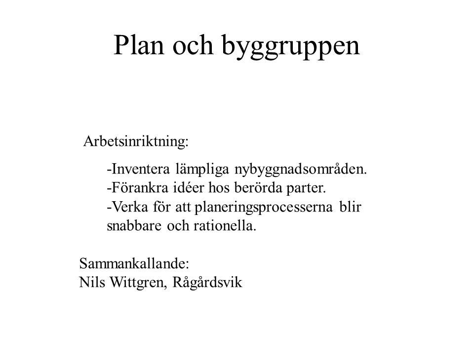 Plan och byggruppen Arbetsinriktning: